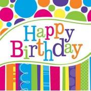 BEV NAPKINS BRIGHT AND BOLD HAPPY BIRTHDAY