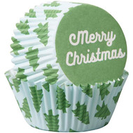 BAKING CUPS MERRY CHRISTMAS TREES 75 CT