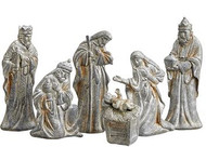 "NATIVITY SET/6 2.5-5.5"" GRAY SILVER"