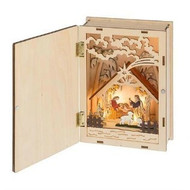 WOOD BOOK LIIGHTED NATIVITY LED
