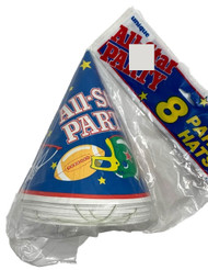 All- Star Party Hats with elastic bands. 8 count per package. Has Baseball, Basketball, Football and Soccer ball designs.