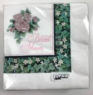 LN NAPKINS TEAL & ROSE BRIDAL SHOWER
