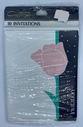 INVITATIONS DAMASK ROSE 10 CT
