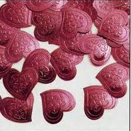 CONFETTI HEARTS EMBOSSED RASPBERRY .5 OZ.