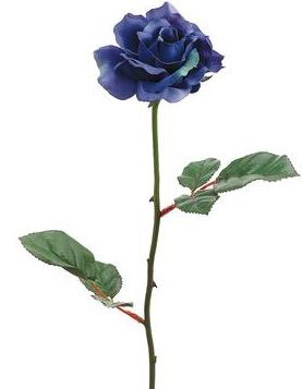 Open Rose in Blue. Approx. 23 in. tall stem. The Dark Royal blue head is approx. 3.5 in. diameter.