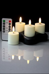 VOTIVES SET/4 RECHARGEABLE WITH BASE AND REMOTE