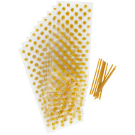 PARTY TREAT BAGS GOLD DOTS10 CT
