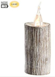WOODEN CANDLE FAUX LED WHITE 5.11