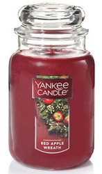 JAR CANDLE RED APPLE WREATH  22 OZ.YANKEE