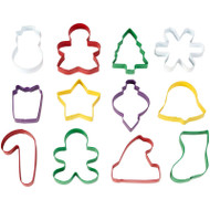 COOKIE CUTTERS SET CHRISTMAS 12 PC TUB