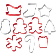COOKIE CUTTERS SET CHRISTMAS 10 PC TUBE
