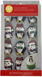 ICING DECO CHRISTMAS PENGUINS 12 CT