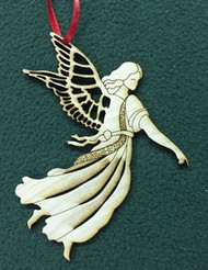ORNAMENT ANGEL WOOD LASER CUT 4""