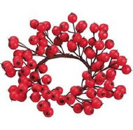 BERRY CANDLE RING RED 8.5 IN.