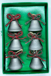 BELLS PEWTER-LOOK ORNAMENT 6 CT