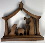 NATIVITY WOODEN BROWN 10""