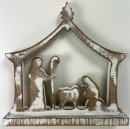 NATIVITY WOODEN WHITE WASHED 10""