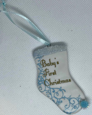 ORN BABY'S FIRST CHRISTMAS BISQUE STOCKING 3 IN.