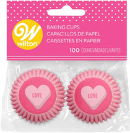 BAKING CUPS MINI SCATTERD HEARTS PINK 100 CT
