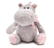 PLUSH HIPPO GREY WITH PINK RIBBON 12'