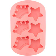 SILICONE MOLD ROYAL CORWNS AND STARS 6 CAVITY