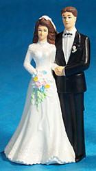 CAKE TOPPER BRIDAL COUPLE FIGURINE 4.5 IN