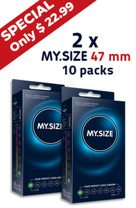 Special -  2 x MY.SIZE 47 mm condom 10 pack
