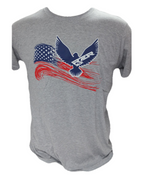 RZRGear | Gray Shirt | Red, White, and Blue Eagle  RZR | T0008