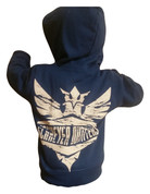 Schreyer Outfitters | Blue Toddler Zip Up Hoodie | Khaki Distressed Logo | T0025