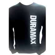 DuramaxGear | Black Long-Sleeved Shirt | White Distressed Vertical DURAMAX | T0035