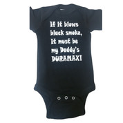 DuramaxGear | Black Infant Onsie Toddler Shirt | White If it Blows Black Smoke | T0047