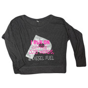 PowerstrokeGear | Ladies' Off-Shoulder Flowy Tee | I Run on Coffee, Cuss Words & Diesel Fuel | T0082
