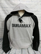 Schreyer Outfitters | Gray/Black Colorblock Hoodie | Black DURAMAX Sharp Stencil | T0084