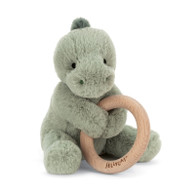 Shooshu Dino Wooden Ring Baby Rattle by Jellycat
