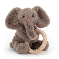 Shooshu Elephant Wooden Ring Baby Rattle by Jellycat