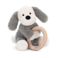 Shooshu Puppy Wooden Ring Baby Rattle by Jellycat