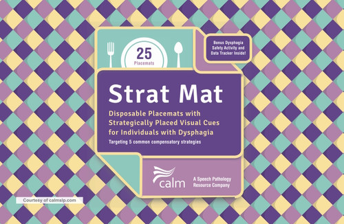 The Strat Mat at calmslp.com. Pad of 25 disposable paper placemats with visual cues to be utilized as a teaching tool when introducing a compensatory swallowing strategy with patients to help manage dysphagia