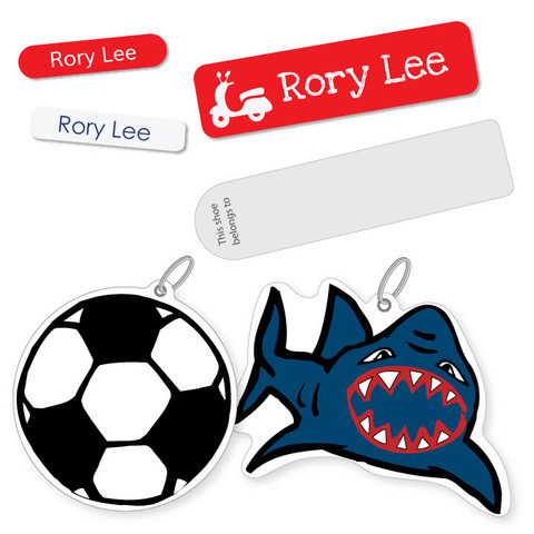 All the bag tags, stick on labels and iron ons your child will need to label their things for starting school.