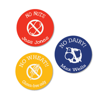 Round allergy stick ons for health warning messages