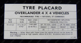 Overlander Tyre Placard Decal