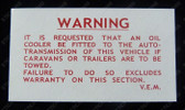 Overlander Trans Warning Decal