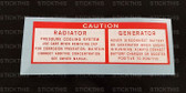 Radiator and Generator Decal - HD - HG and LC