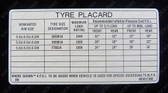 Tyre Placard - HQ and early HJ Ute/Van Including Sandman V8