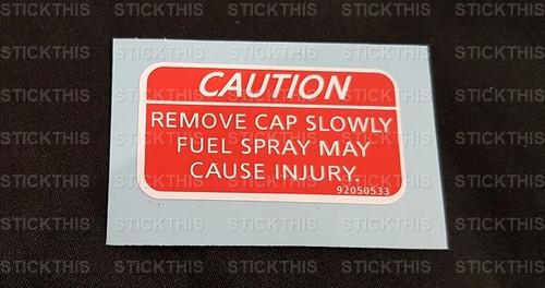 Fuel Flap Decal - Caution Remove Cap Slowly. VT VX