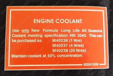 Coolant Decal, VN VP