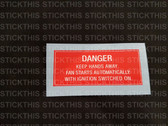 Fan Warning Decal - VN, VG Series 1, V6