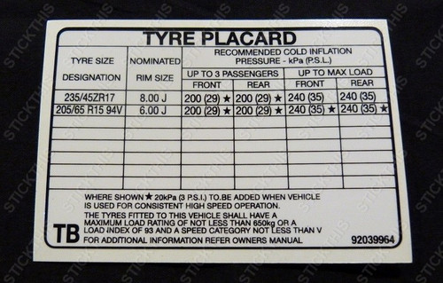 Tyre Placard - VN Group A