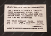 Emission Decal, VS - V6 Supercharged L67