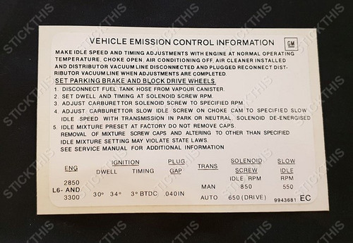 Emission Decal 9943681 6cyl - HJ 186 and 202