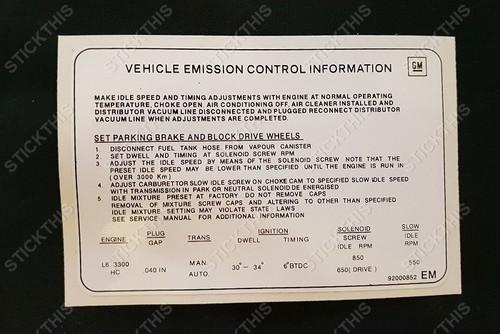 Emission Decal 92000852 EM - HZ and VB 6 cyl 3300 (202)